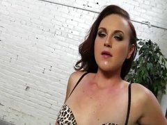 Nasty shaved slut rides massive black cock