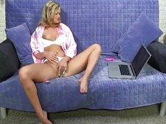 Hot blonde masturbation over big black cock