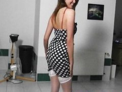 Funny girl lapdances in white stockings