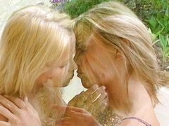 Hot blonde lesbians go crazy making out
