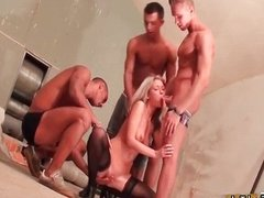 Sexy blonde babe gets horny