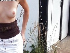 Czech girl Ebbi flashes tits and nailed