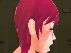 Anime redhead sucks two cocks