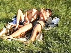 Hot lads messing about on the grass