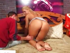Pornstar Mia sucking on his hard cock
