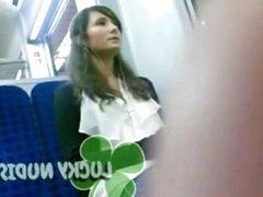 Dick Flash Brunette on Bus