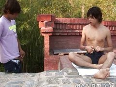Handsome gay boy seduced outdoors