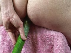 Anal solo with cucumber