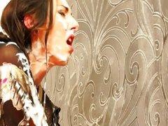 Jenna Lovely peggs at bukkake gloryhole