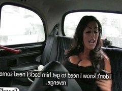 Huge tits amateur brunette slag sex in a taxi