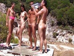 Bikini girls doing college blowjob