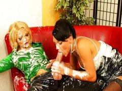 Jenna Lovely and Ema Black bukkake sprayed