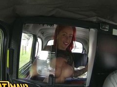 Redhead babe fucked in taxi car