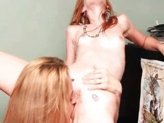 Hot blonde lesbians get horny licking