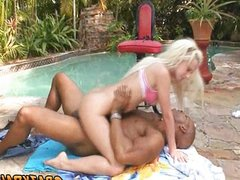 Blonde babe fucked by huge black cock