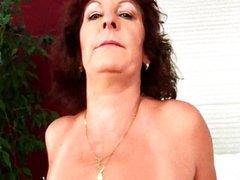 Granny with big tits finger fucks