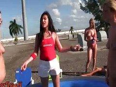 Lesbian College Skanks Wrestling In Outdoors