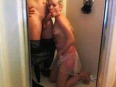 Hot Blonde Sucking Cock In Shower