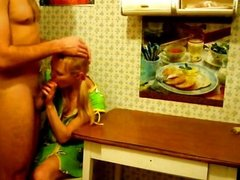 Super hot blond wife gets banged on the table