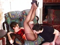 Sheer black nylon pantyhose feet fetish