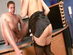 Office Brunette in black stockings nylon play