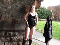 Blonde voyeur babe Sophie Keagan public flash
