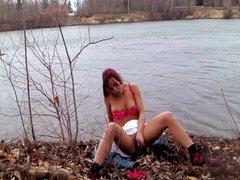 Shana Lane's striptease at the park!