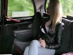 Huge fake tits amateur paid by a taxi driver
