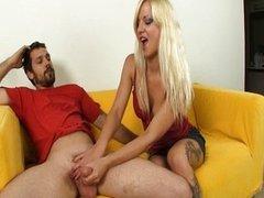 Blonde Hottie Jerking A Big Boner