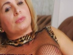 Shemale in stockings jerks her big cock