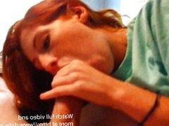 Redhead teen swallows cum