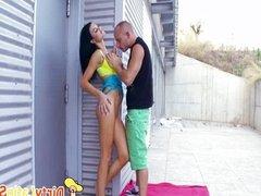 Big Boobs Latina Exchanges Oral Sex Outdoors