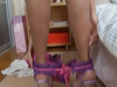 Blond in pink lingerie has anal sex