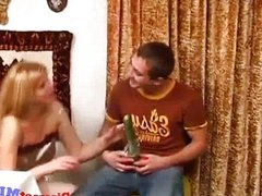 Blonde MILFs pussy gets destroyed in the kitc