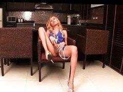 Blonde ladyboy pleasuring huge dick