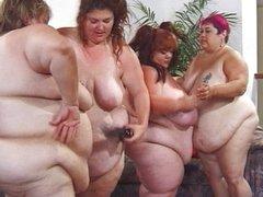 Fat lesbian double dildo masturbation