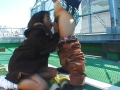 Japanese teen licked and fucked outdoor
