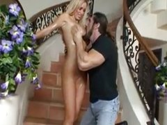 Nikki Benz fucks on the stairs