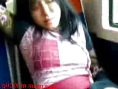Girl on a Public Train Masturbates