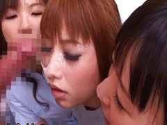 Lovely Nurses Sucking and Sharing a Cock