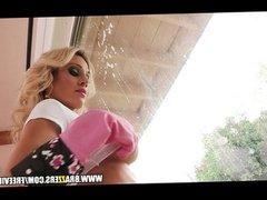 Slutty blond maid Sarah Jessie fucks peeping-tom