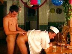 Gay customer fucks a young waiter