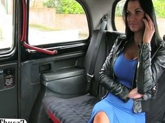 Big fake tits amateur fucked in back of taxi