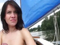 Eurobabe Shara Jones stuffed on a boat for so