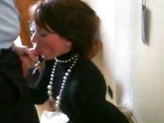 Blowjob from wife in turtleneck sweater