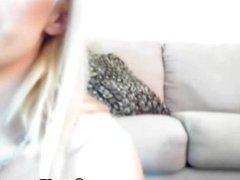 Blonde deepthroating dildo