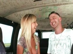Blonde amateur giving handjob in the sex bus