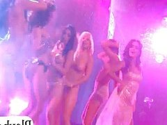 Glamour big tits babes have fun on stage
