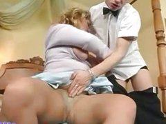 Horny MILF fucked by waiter