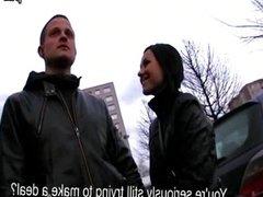 Slim chick fuck two strangers for money